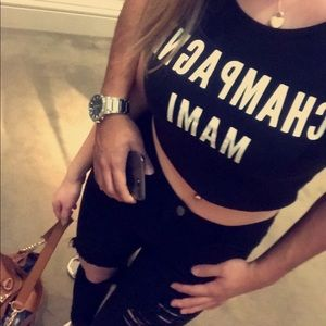 Tops - Champagne mami crop top